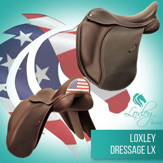 5 Loxley Dressage LX cocoa USA flag cantle
