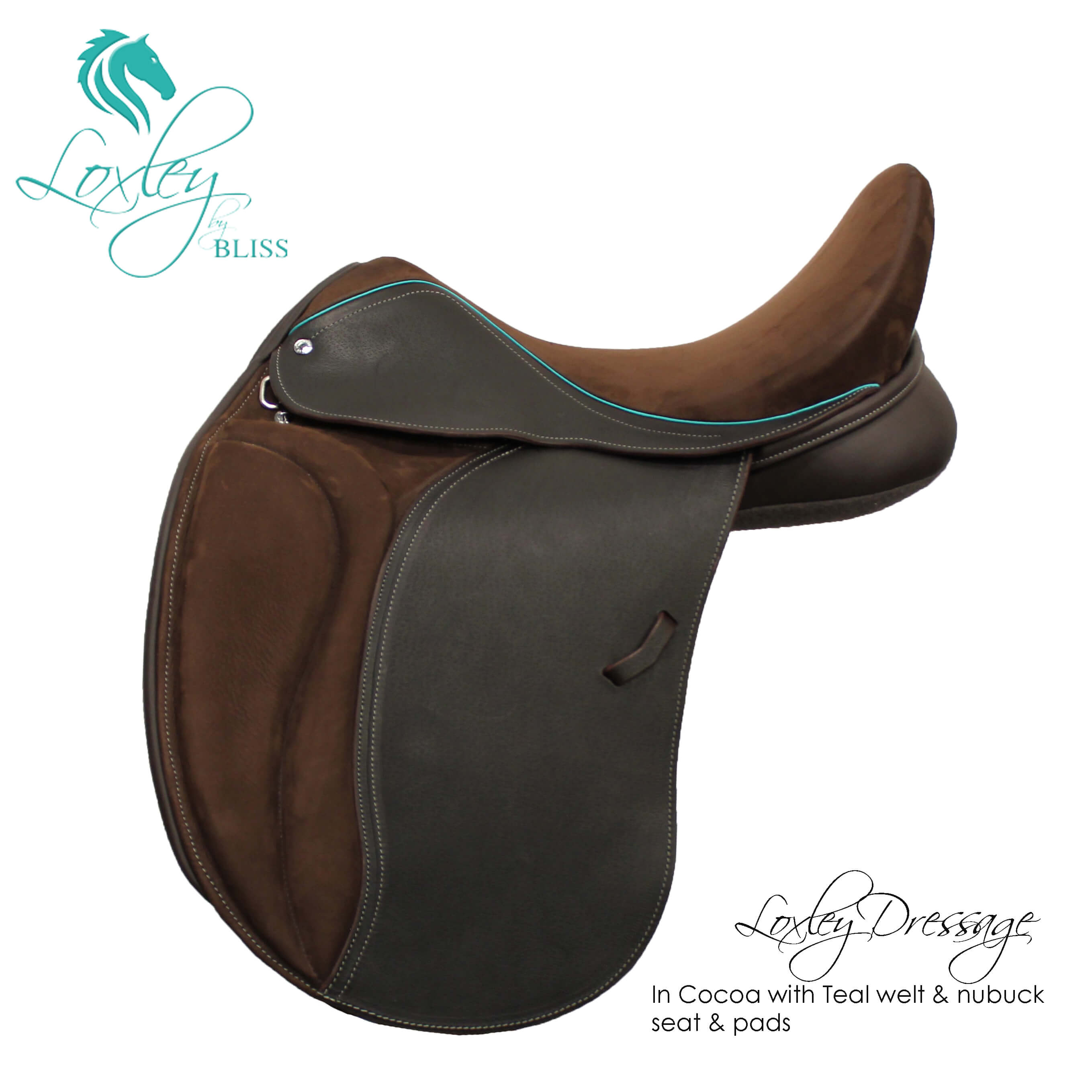 6 Loxley Dressage Cocoa Teal Nubuck