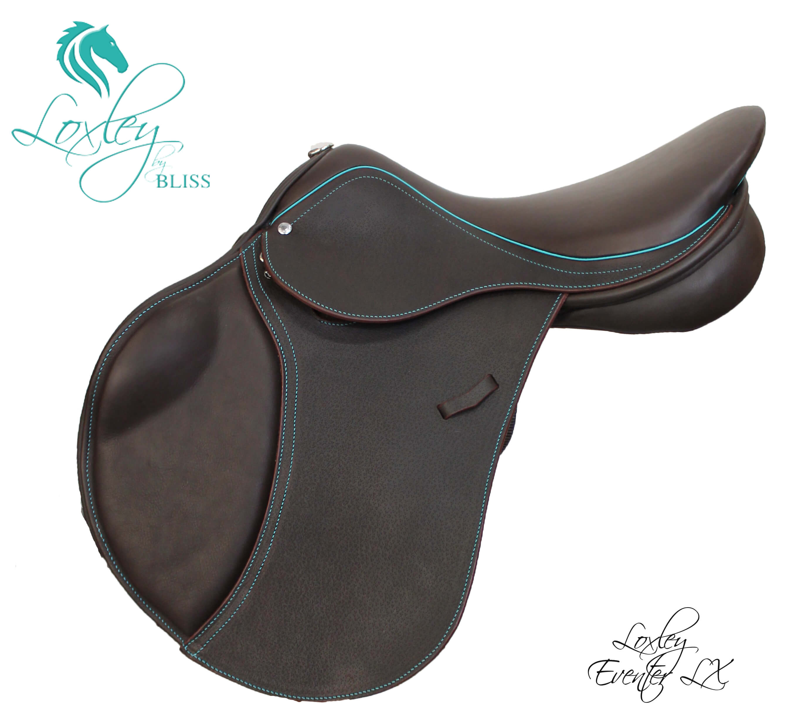 2 Cocoa & Teal eventer LX side Loxley Saddle Image Template