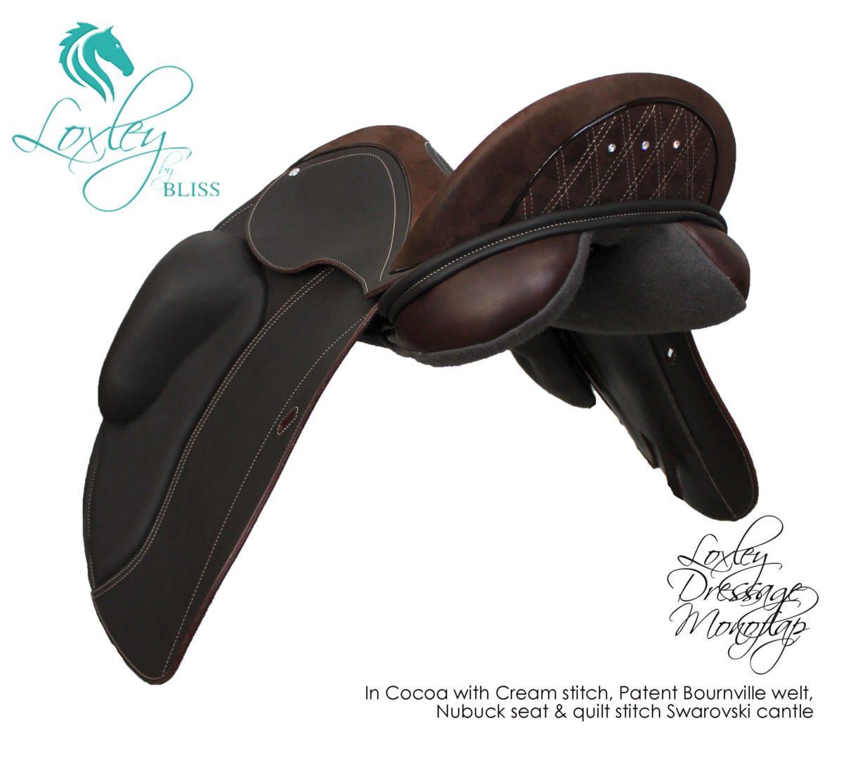24 Loxley Dressage Mono - cocoa nubuck quilt stitch swarovski 34