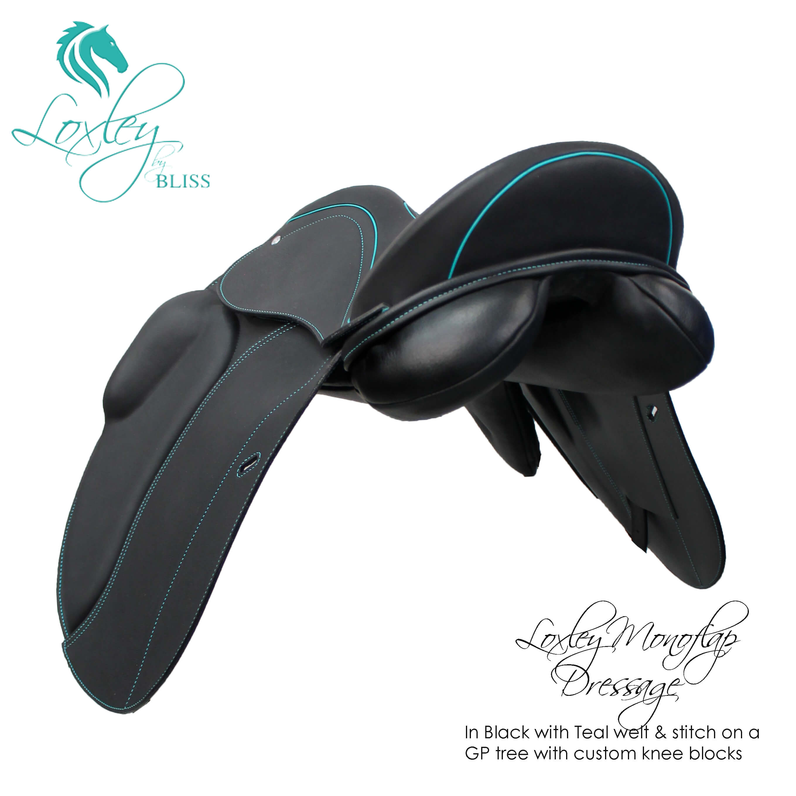 34 Loxley Dressage mono GP tree endurance block black teal 34