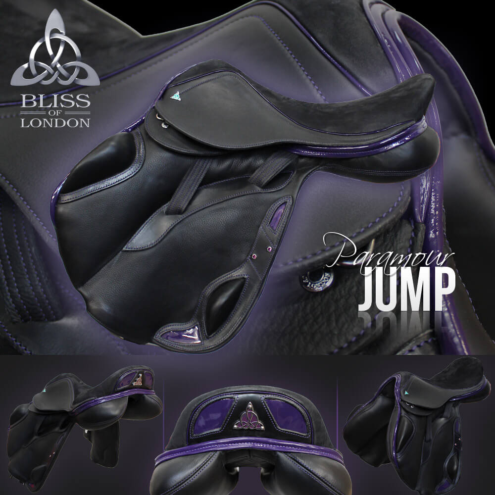 4 Bliss Paramour Jump - black nubuc, purple patent, speed feature & badge