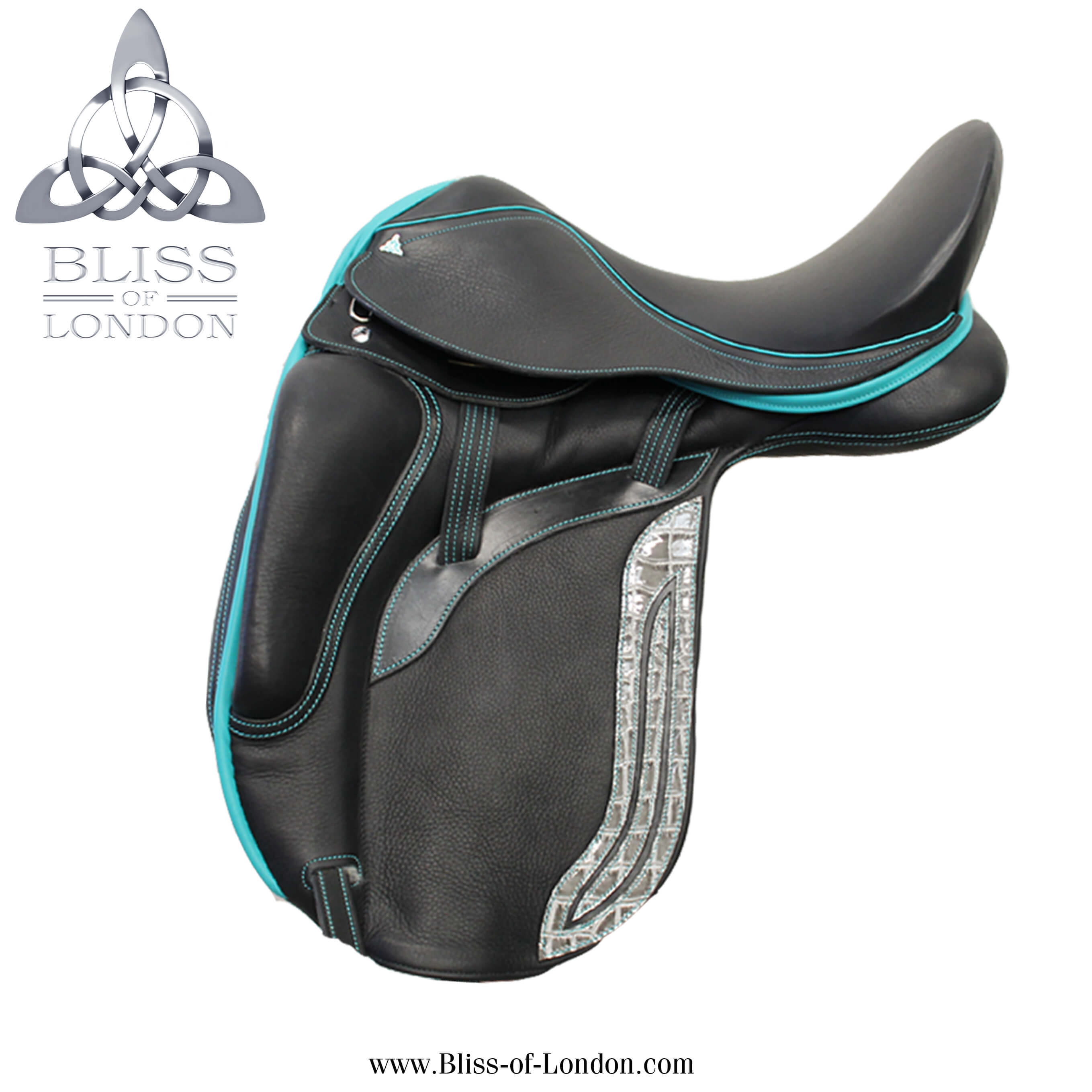 2 Bliss Paramour Dressage Teal & Grey Patent Croc