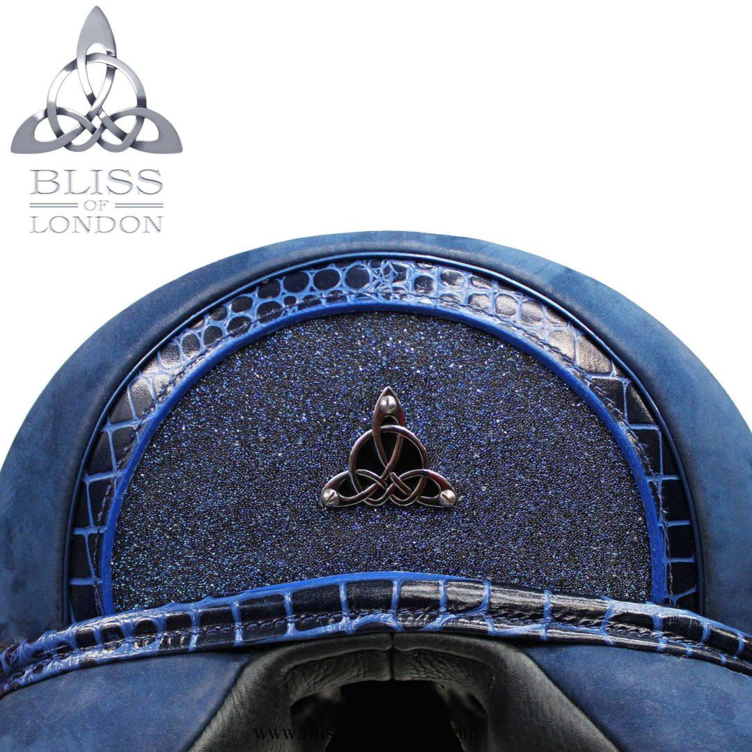 s Blue nubuck mono swarovski cantle