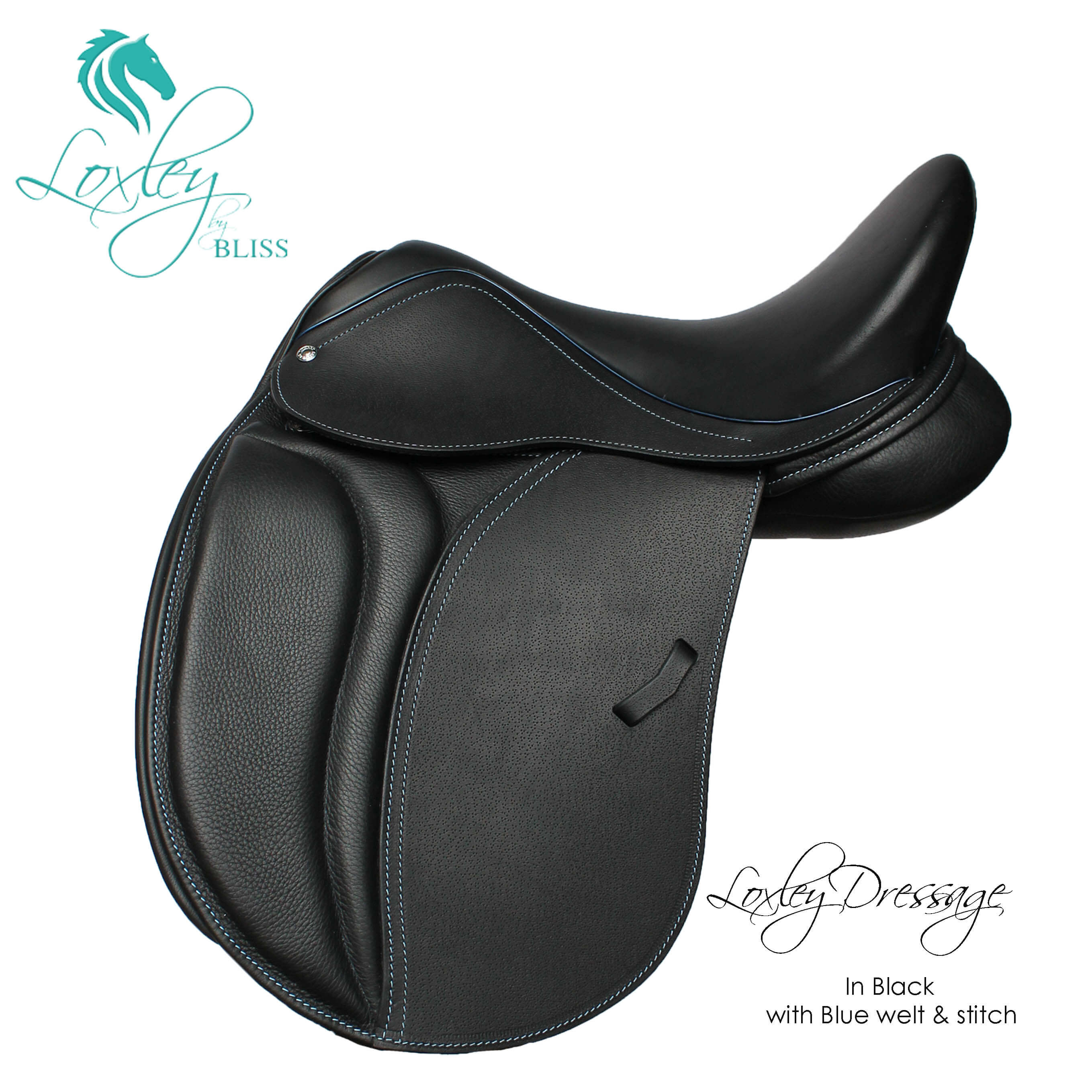 19394 - Lox pony dressage black and blue narrow flap and cantle 1