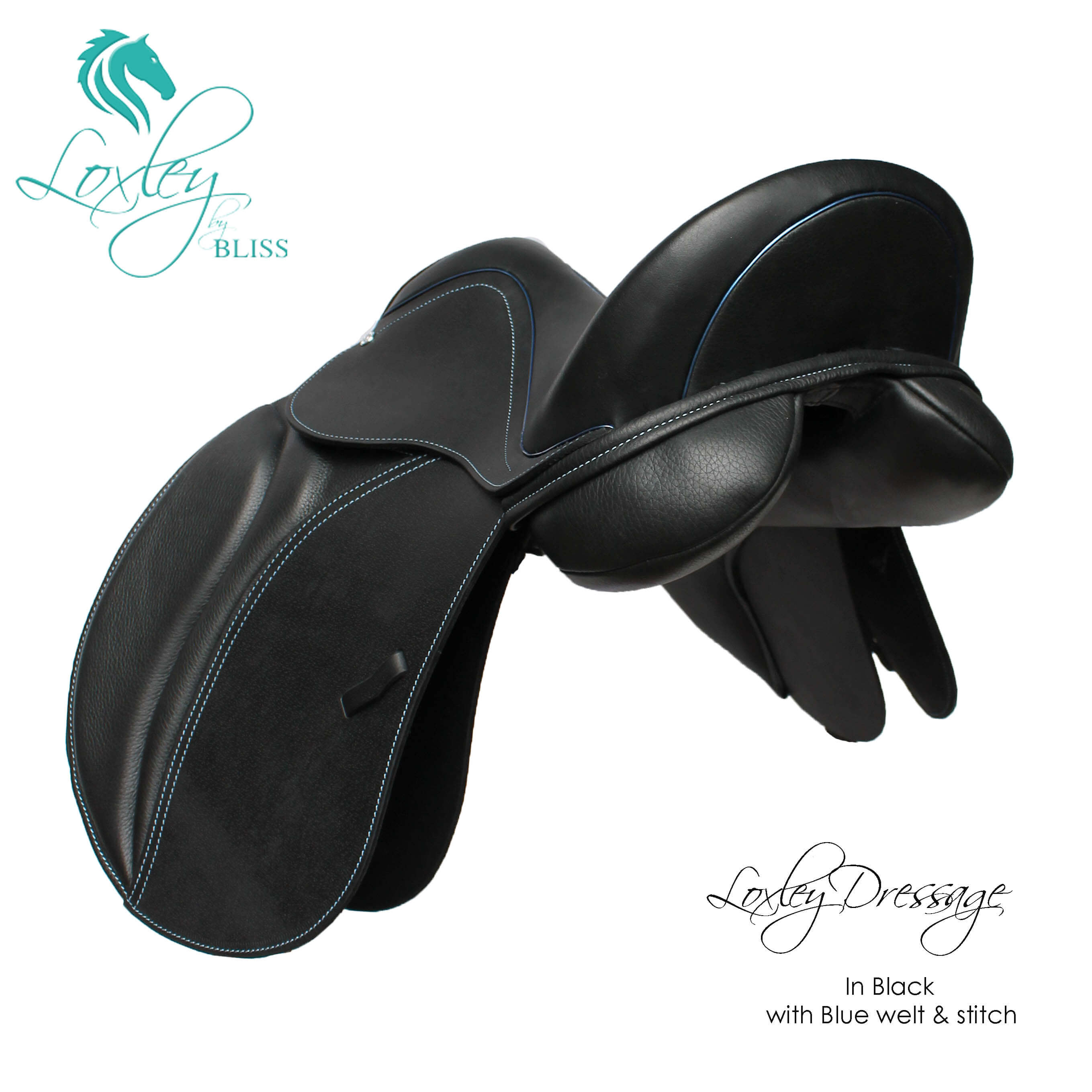 19394 - Lox pony dressage black and blue narrow flap and cantle 2