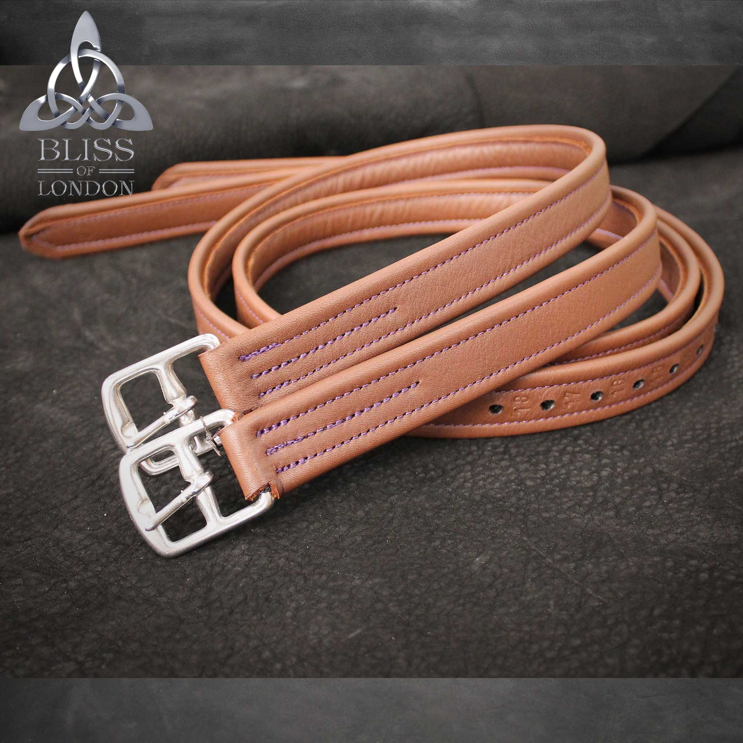 Claret and Purple Stirrup Leathers