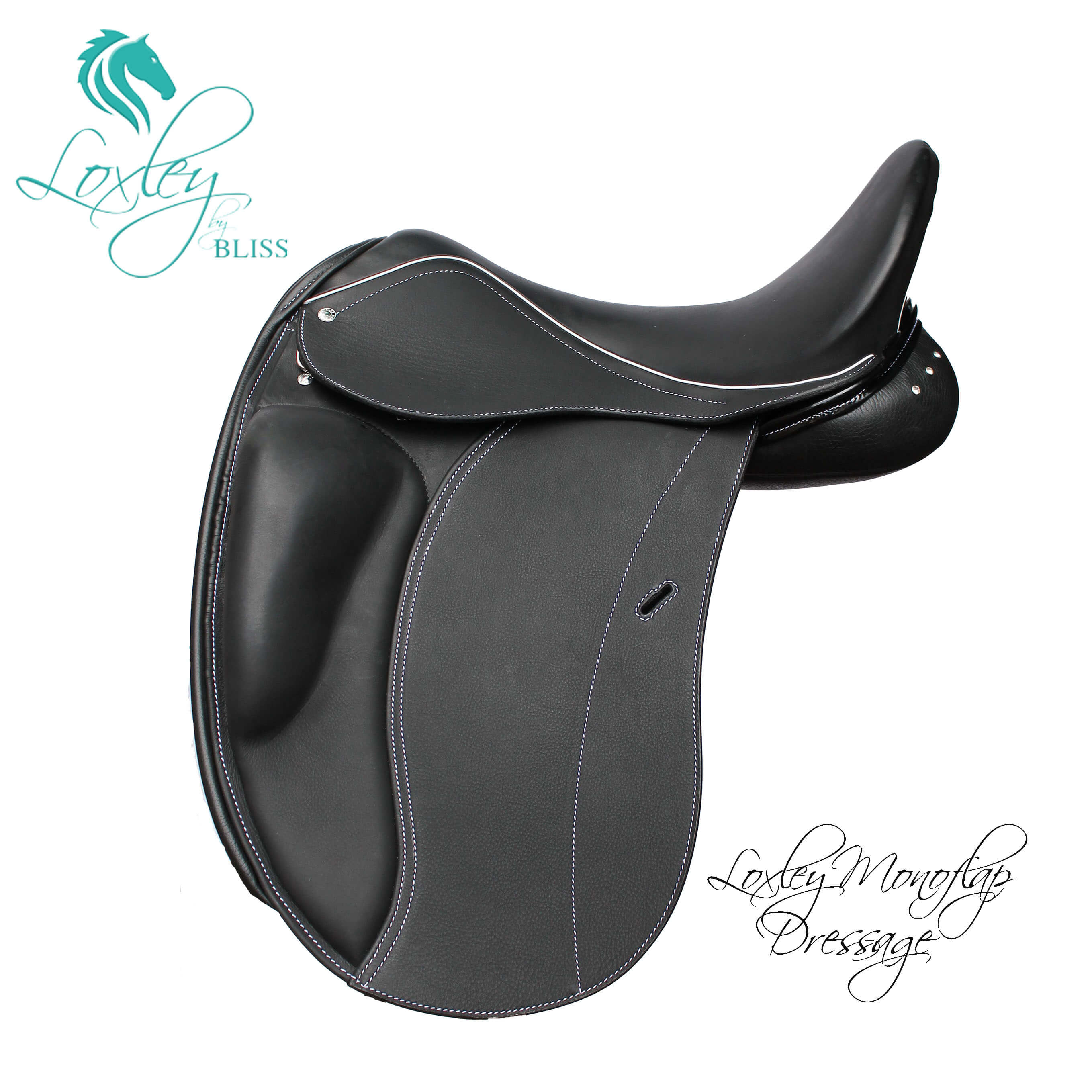 Loxley Dressage Mono Black White Stitch Patent Facings Swarovski Gusset 1