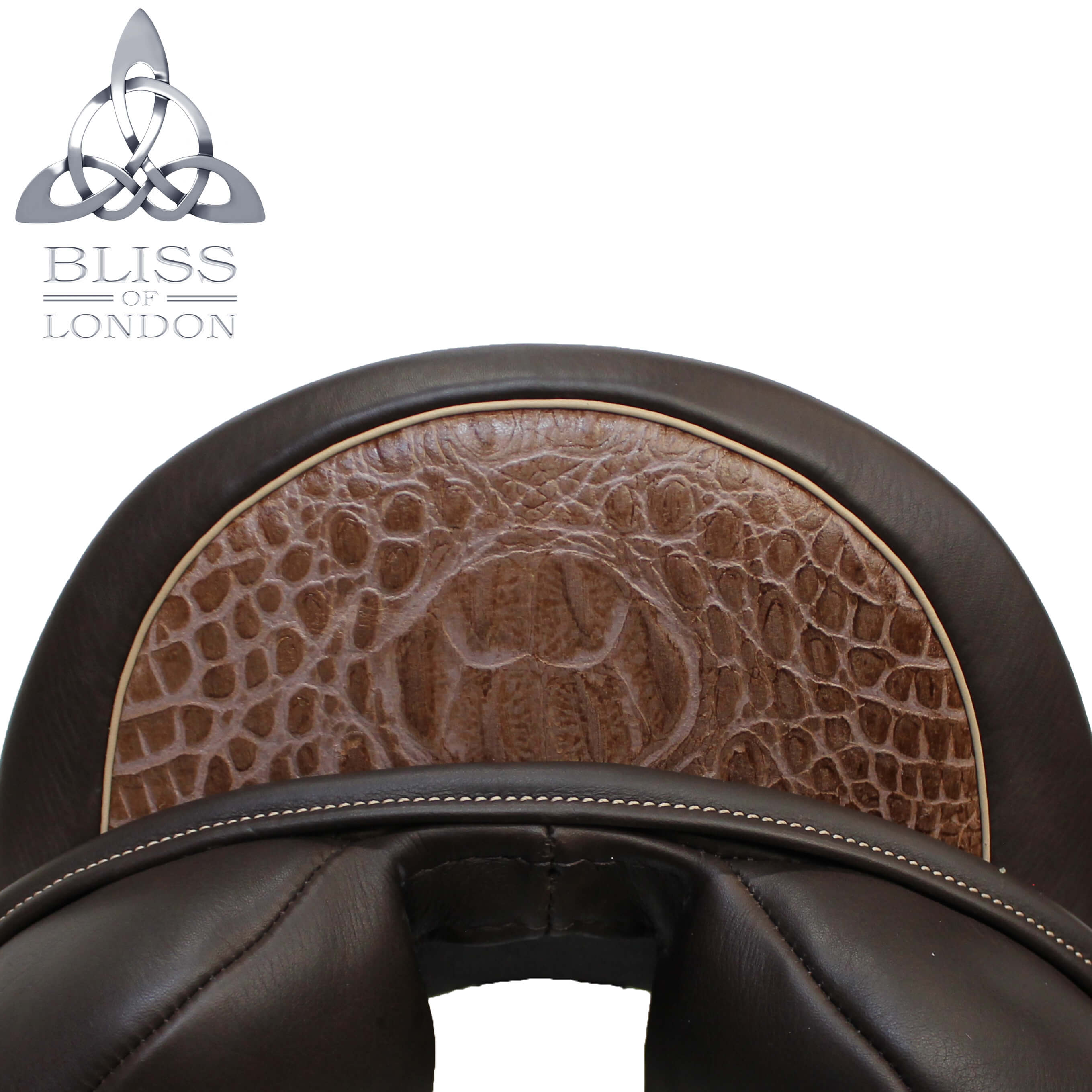 cantle Bliss Saddle Image brown croc badge